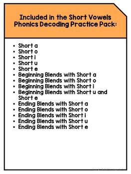 Short Vowels: Phonics Decoding Practice Pack
