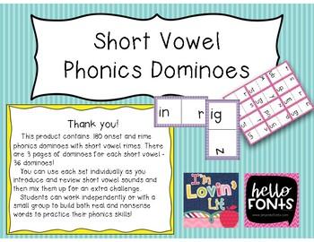 Short Vowels Phonics Dominoes Bundle