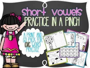 Short Vowels Practice in a Pinch {Printables for CVC Real and Nonsense words}