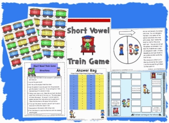 Short Vowels Reading Game with Train Theme