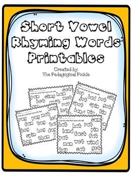 Short Vowels Rhyming Words Printables