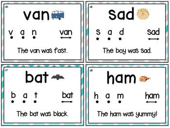 Short Vowels Segmenting & Blending CVC - Phonics & Reading! 40 NO PREP cards!