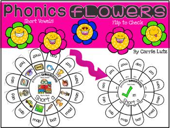 Short Vowels  Self Checking Phonics Flowers