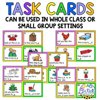 Sentence Editing Task Cards (Short Vowels) for First and Second Graders
