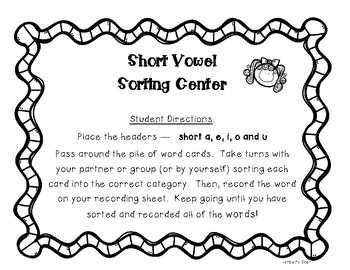Short Vowels Sorting Center