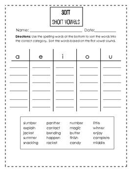 Short Vowels Spelling Pack