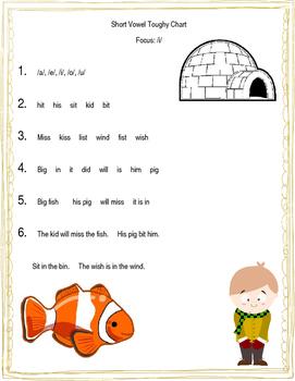 Short Vowels Toughy Chart