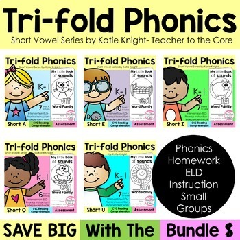 Short Vowels Phonics Tri-Folds -Big Bundle-