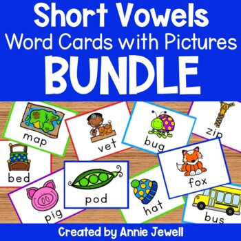 Short Vowels Word Cards with Pictures BUNDLE - Flashcards and Worksheets