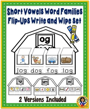 Short Vowels Word Families Flip-Ups Write and Wipe Set