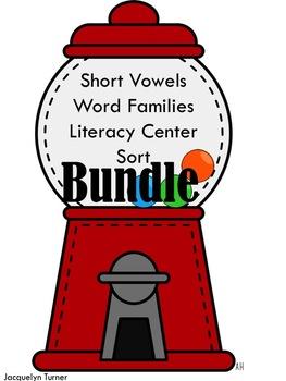 Short Vowels Word Families Literacy Center Sort BUNDLE