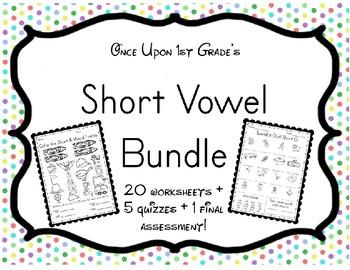 No Prep Phonics Short Vowels Word Family CVC Unit Worksheets Assessment