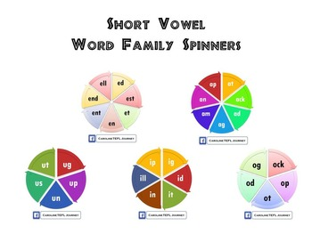 Short Vowels Word Family Spinners