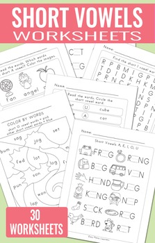Short Vowels Worksheets - Fill in the Blank, Color by Word, Wordsearch and more