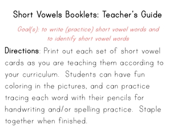 Short Vowels Writing Book