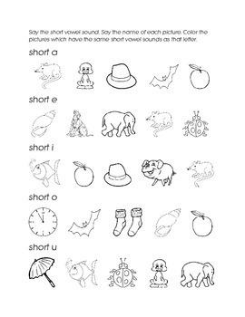 Short Vowels a e i o u Color Match Vowel Sound Picture Kindergarten