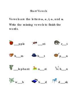 Short Vowels a e i o u  Fill in the Blanks Kindergarten Vowels Sight Words