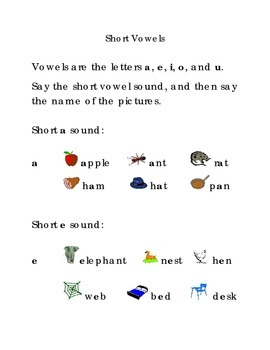 Short Vowels a e i o u  Kindergarten Alphabet Vowels Sight Words Pictures