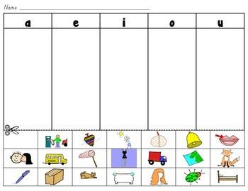 Short Vowels (a, e, i, o, u) cut and paste