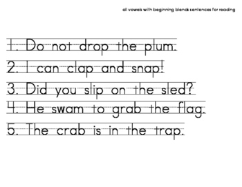Phonics Reading List - Short Vowels with Blends