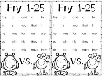 Short Vowels and Fry Sight Words