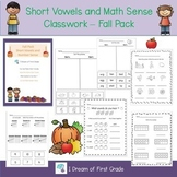 Short Vowels and Number Sense Classwork - Fall Pack
