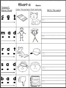 Short Vowels: blend, segment, read, color, write