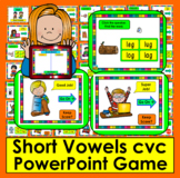 Short Vowels cvc PowerPoint Game!  25 Interactive Multiple Choice Slides