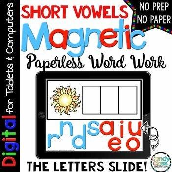 Short Vowel Word Work for Google Use (CVC Words & Medial Sounds)