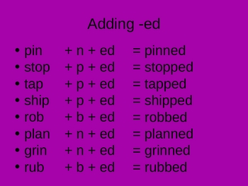 Short Vowels with ed and ing