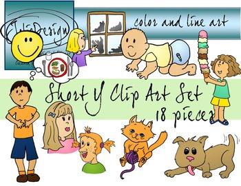 Short Y Ending Clip Art Set - Color and Line Art 18 pc set
