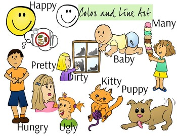 Short Y Ending Clip Art Set - Color and Line Art 18 pc set
