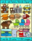 Short vowel a clipart- Am & Ab Words Clipart (23 words- 40 images)