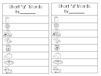 Short a CVC Mat with matching pictures, words and recording sheet!