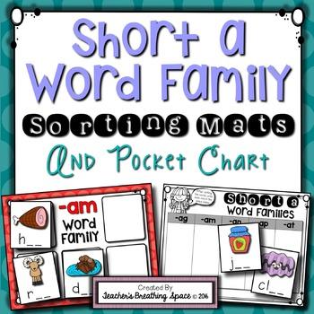 short a cvc word sort word family sorting mats and pocket chart