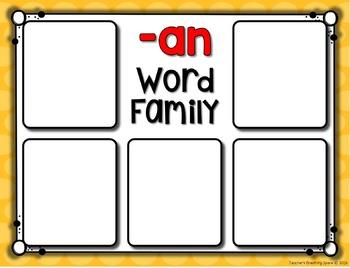 Short A CVC Word Sort --- Word Family Sorting Mats and Pocket Chart