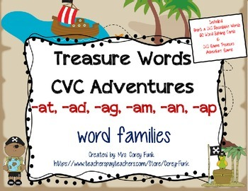 Short a CVC Word Building Pirate Themed Word Families -at