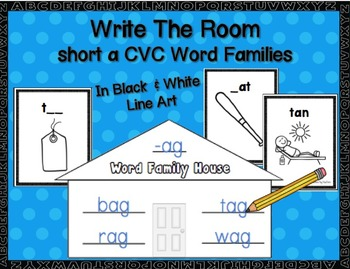 Short a  CVC Word Families Write-the-Room in Black & White