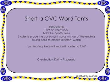 Short a CVC Word Tents