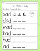 Short a CVC Word Work Reading, Spelling, and Drawing Activity