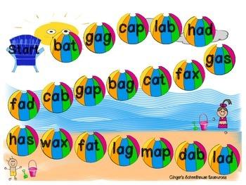 Short a CVC Words at the Beach Board Game