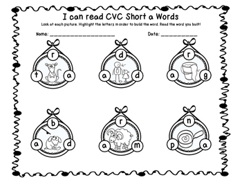 Short a CVC build a word