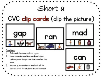 Short a, CVC clip carts (clip the picture)