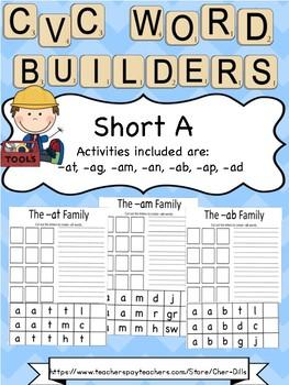 Short a CVC word builders