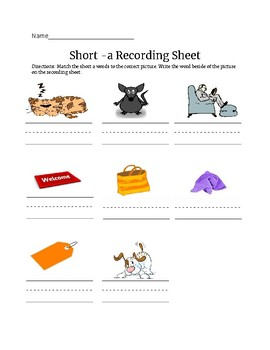 Short -a Cards and Recording Sheet