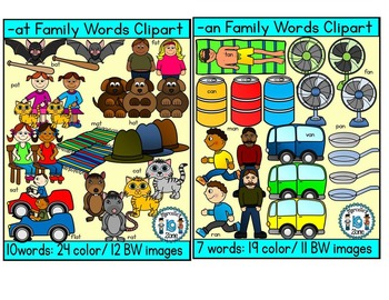SHORT VOWEL A Clipart Bundle-CVC Clipart (47 total words- 208 images)