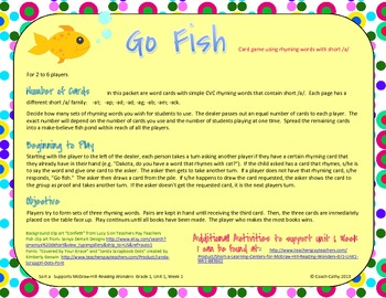 Short /a/ Go Fish Card Game for McGraw-Hill Reading Wonders Gr 1 Unit 1 Wk 1