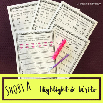 Short a - Highlight and Write