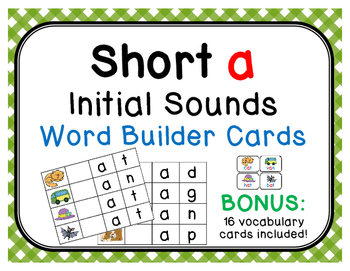 Short /a/ Initial Sound Word Builder Cards with 16 BONUS Vocabulary Cards