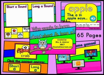 Short a & Long a Phonics Promethean ActivInspire Flipchart Lesson